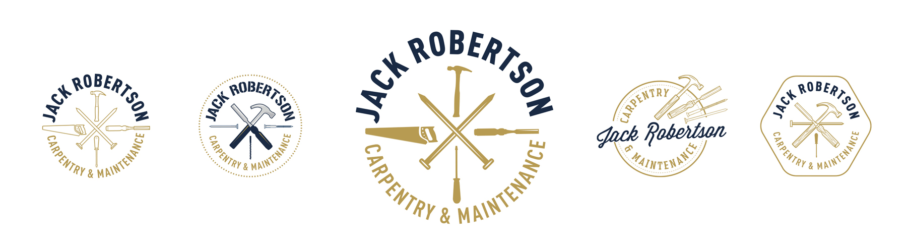 Jack Robertson Carpentry and Maintenance Logo options on white background isolated