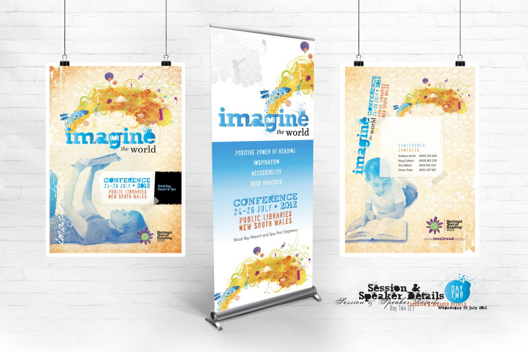 Public Libraries New South Wales, Imagine the World Conference Pullup Banner and Program Covers