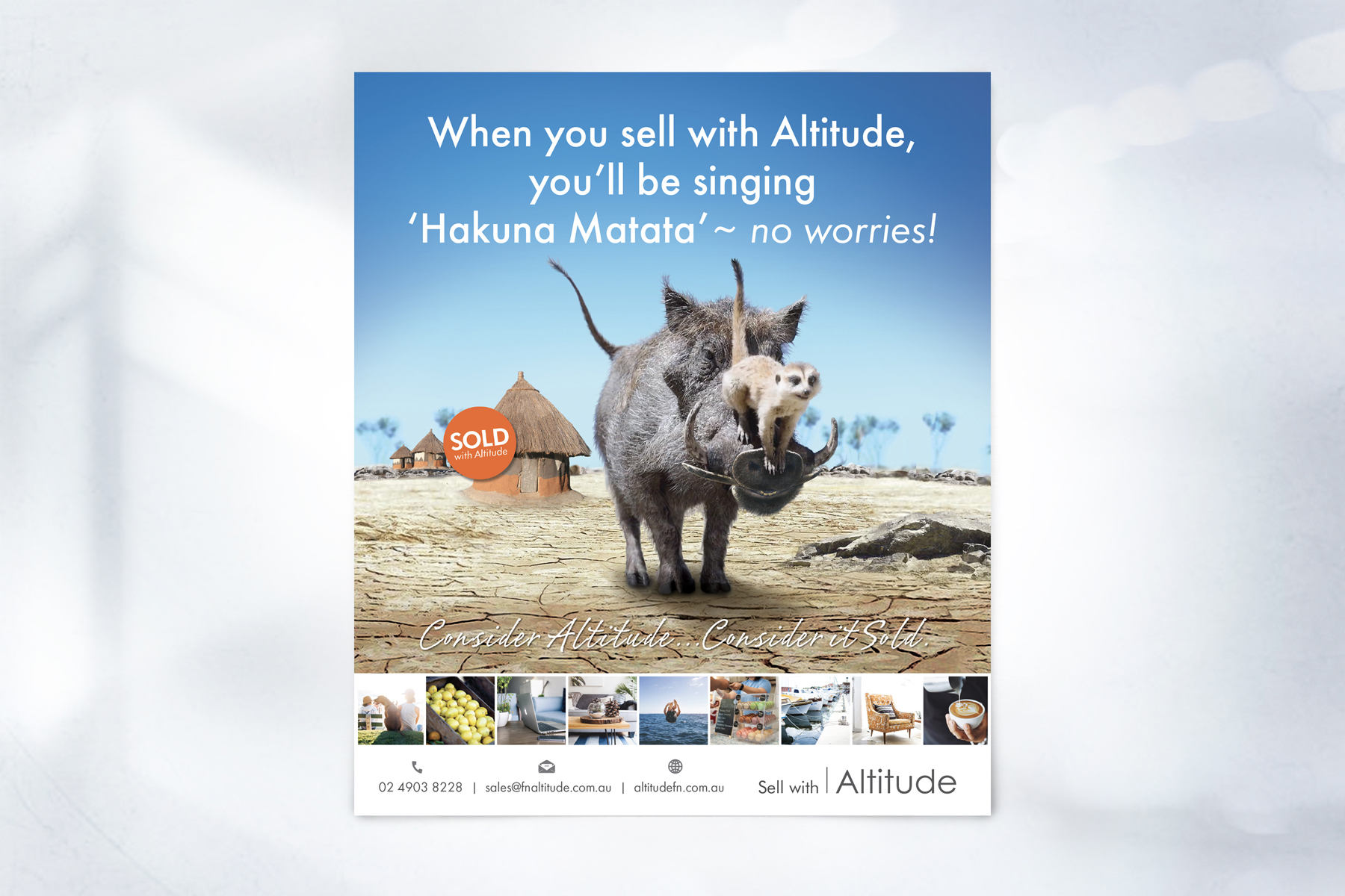 First National ALTITUDE Full Page Press Advertisement Hakuna Matata