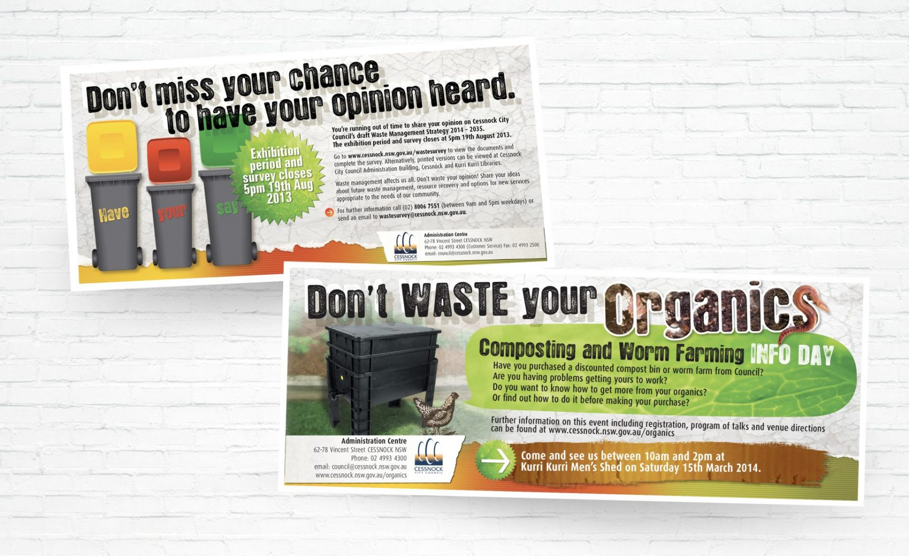 Don't waste your Organics Newspaper Ads for Cessnock City Council