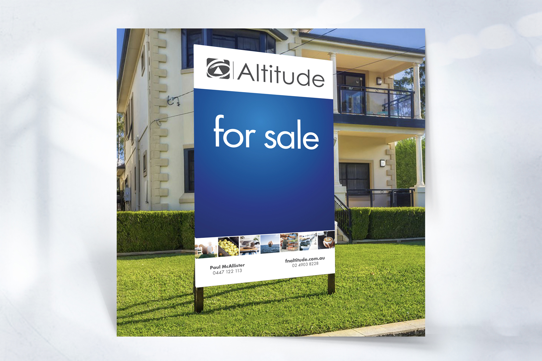 First National ALTITUDE For Sale Sign infant of house