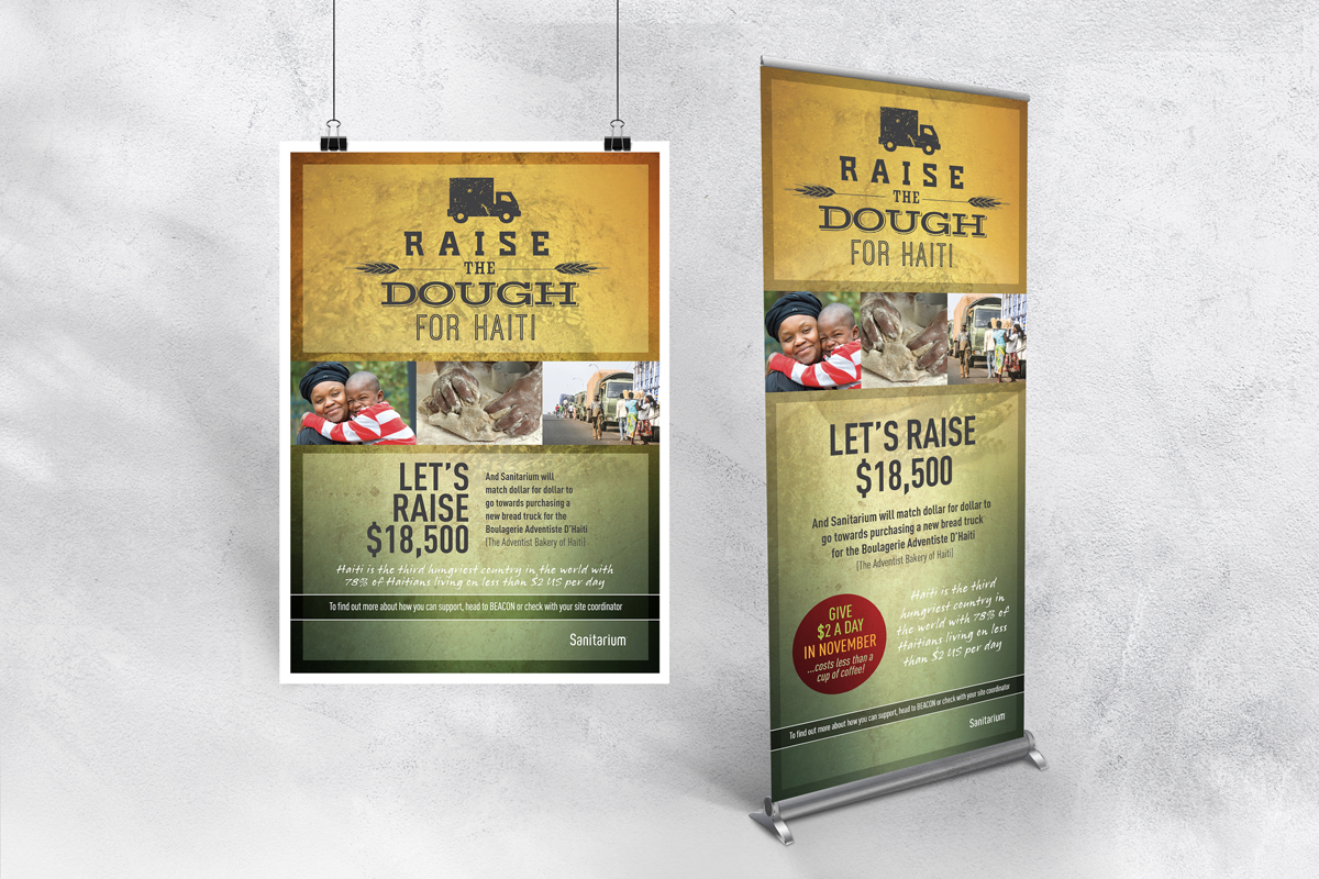 Raise The Dough Pull-up Banner and A2 Poster for Sanitarium