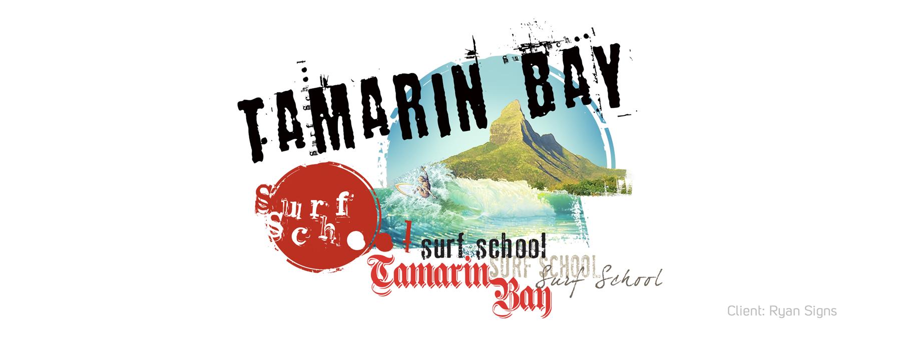 Tamarin Bay Surf School logo banner