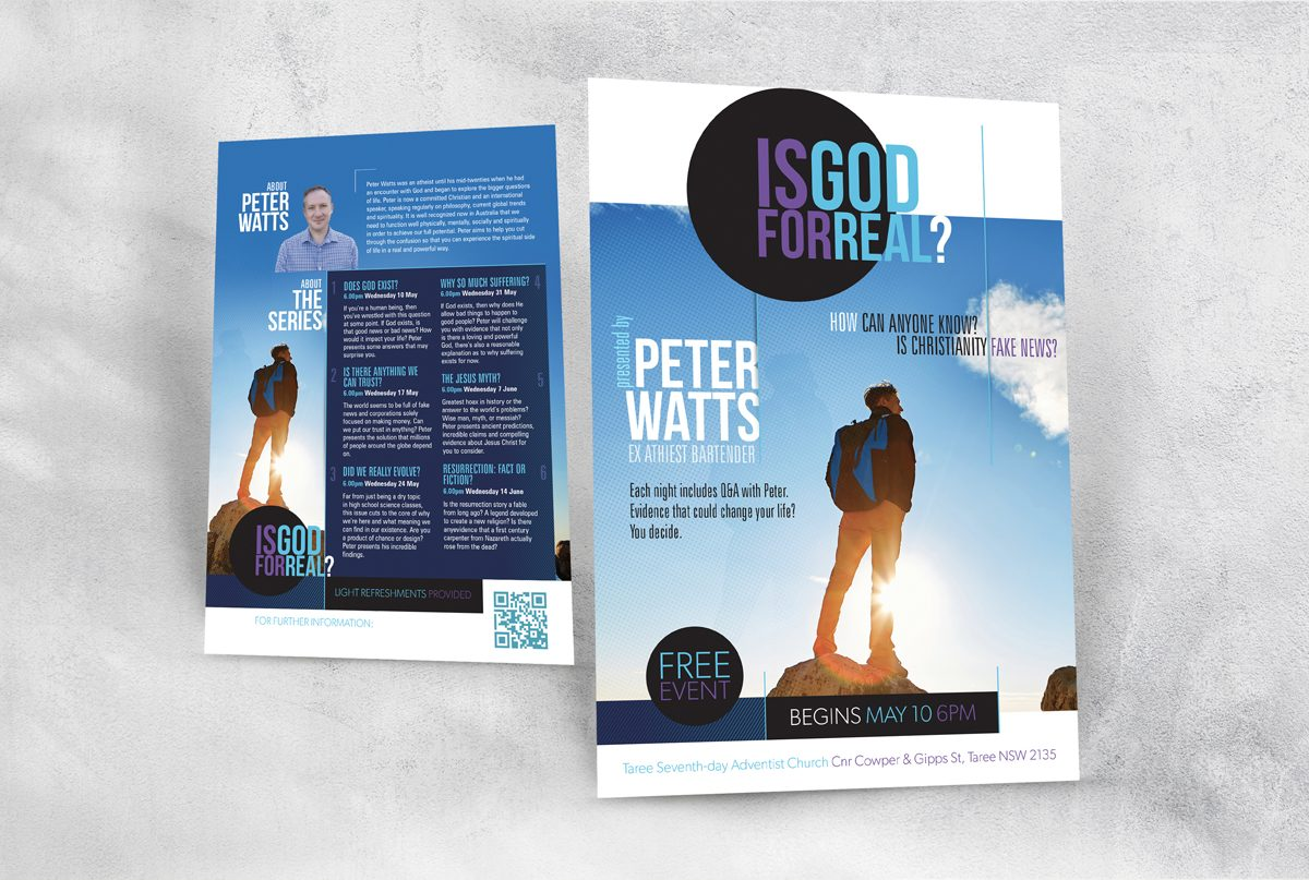 Is God for Real 2 page A5 Peter Watts display banner