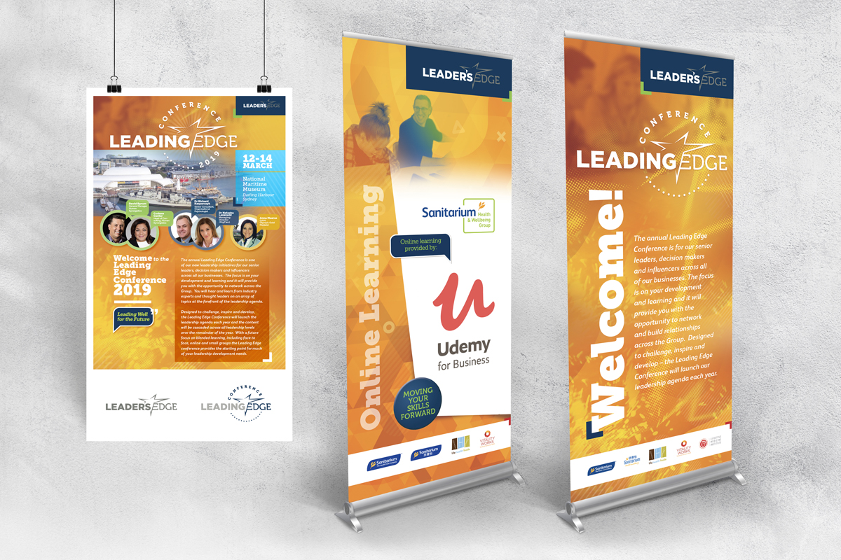 Leading Edge Conference Pull-up Banner and A2 Poster for Sanitarium