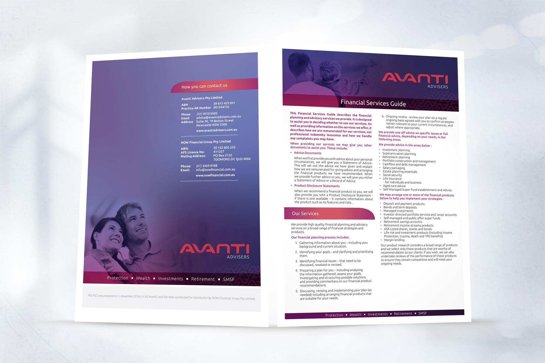 AVANTI Advisers Financial Services Guide 4 Page A4 Brochure