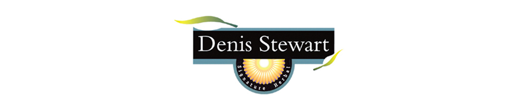 denis stewart signature herbal banner on white background