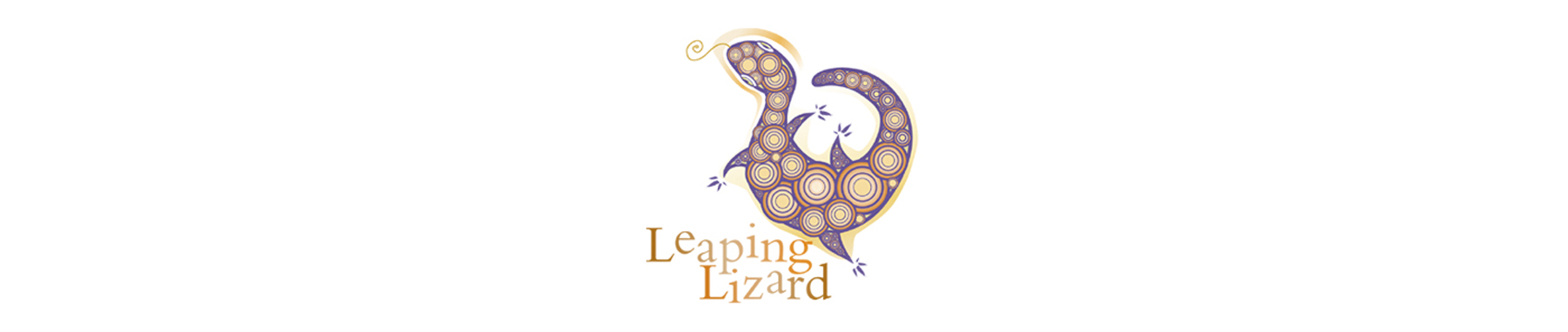 leaping lizard wine label banner on white background