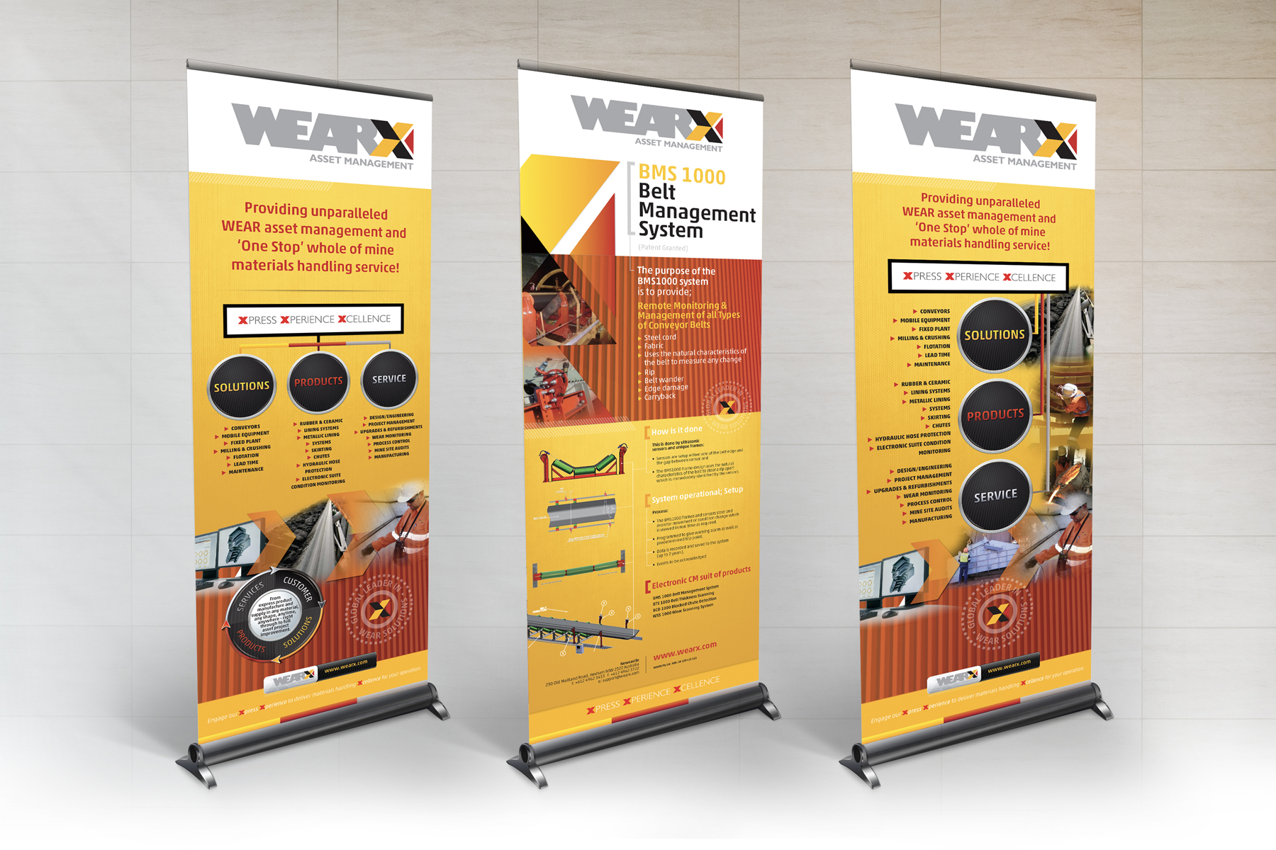 WEARX Pull-up Banners showing BMS and Branding