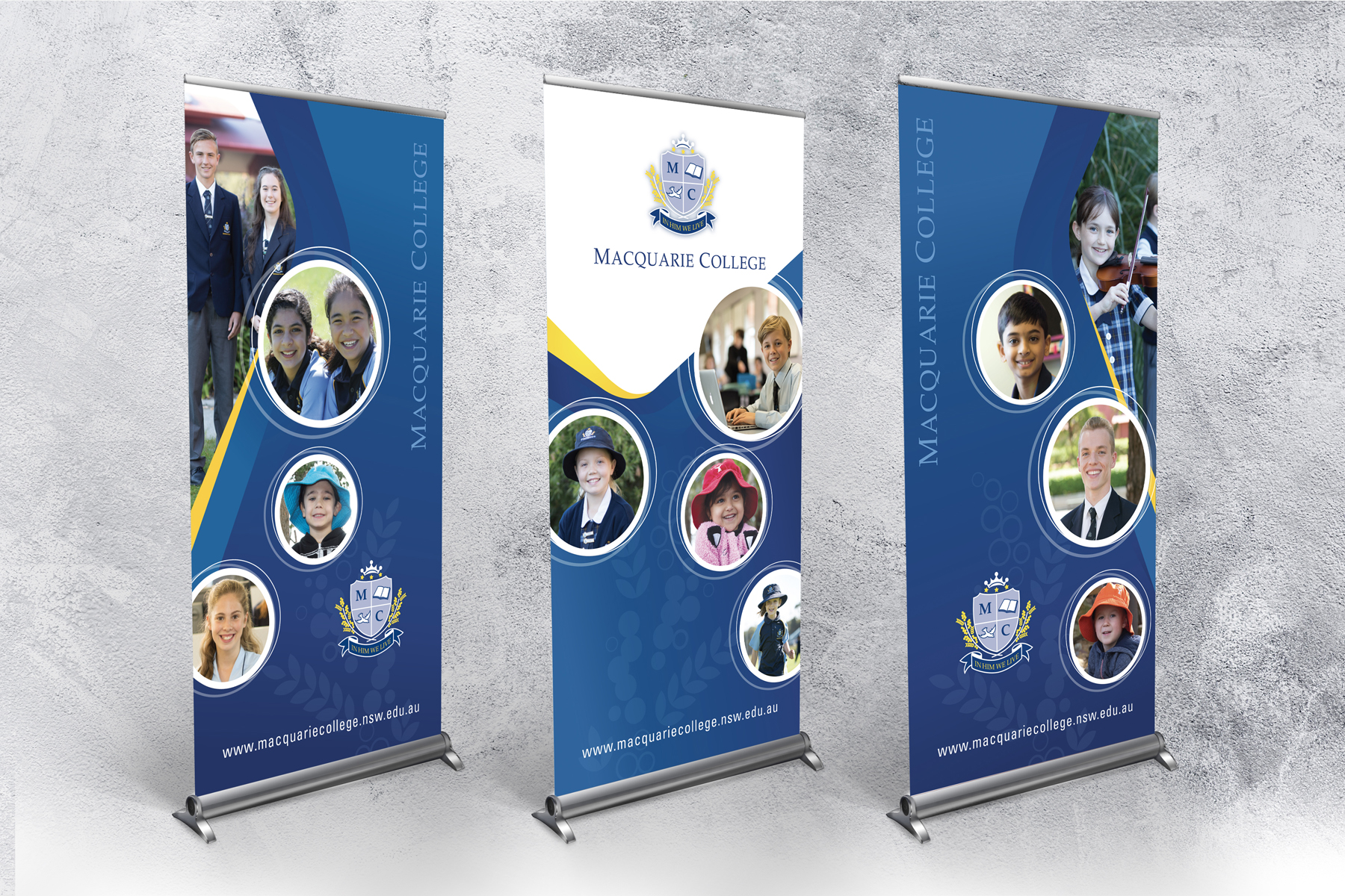 Macquarie College Pull-up Banners on display