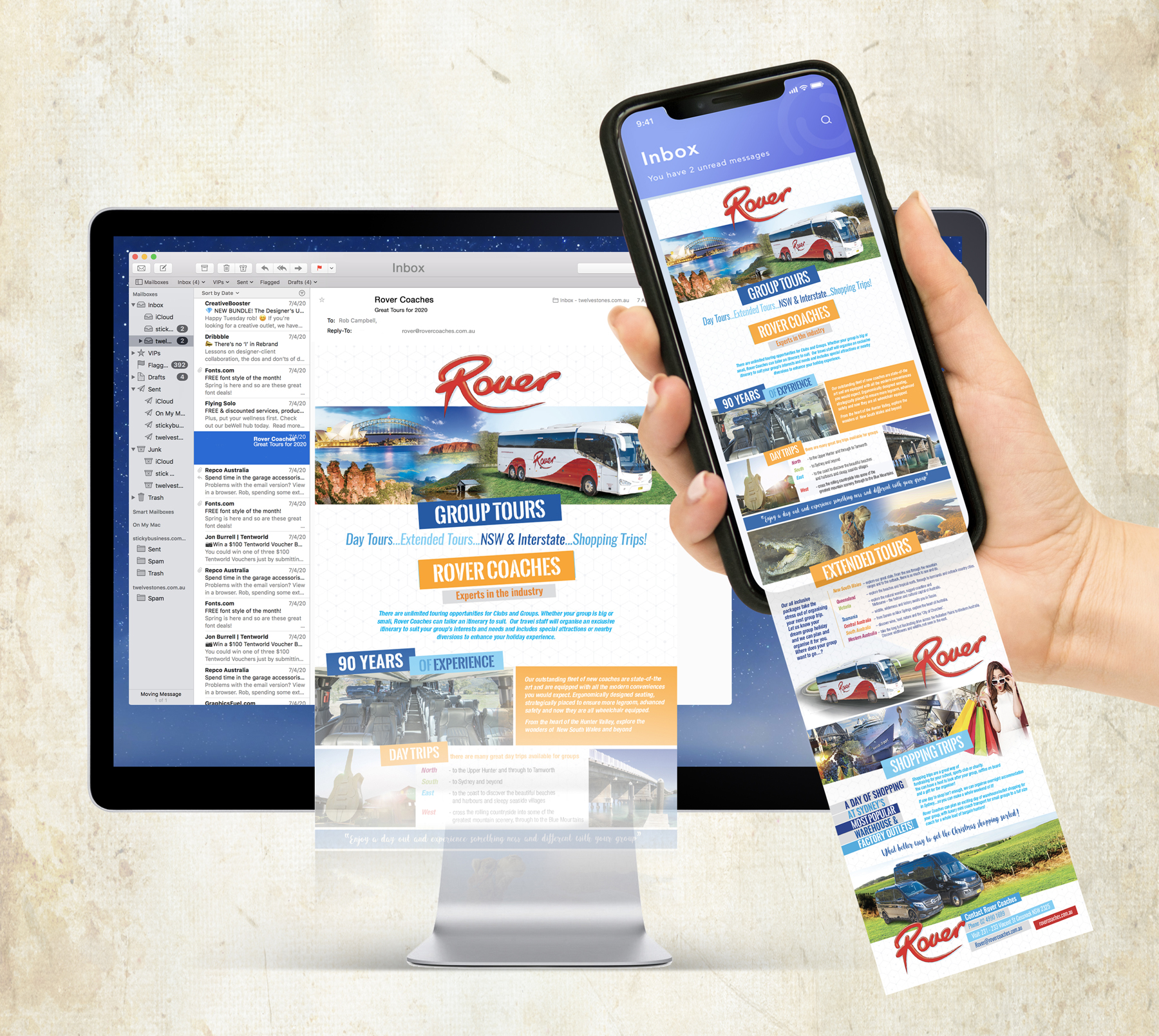 Rover Coaches Tour Promotion on iMac and iPhone