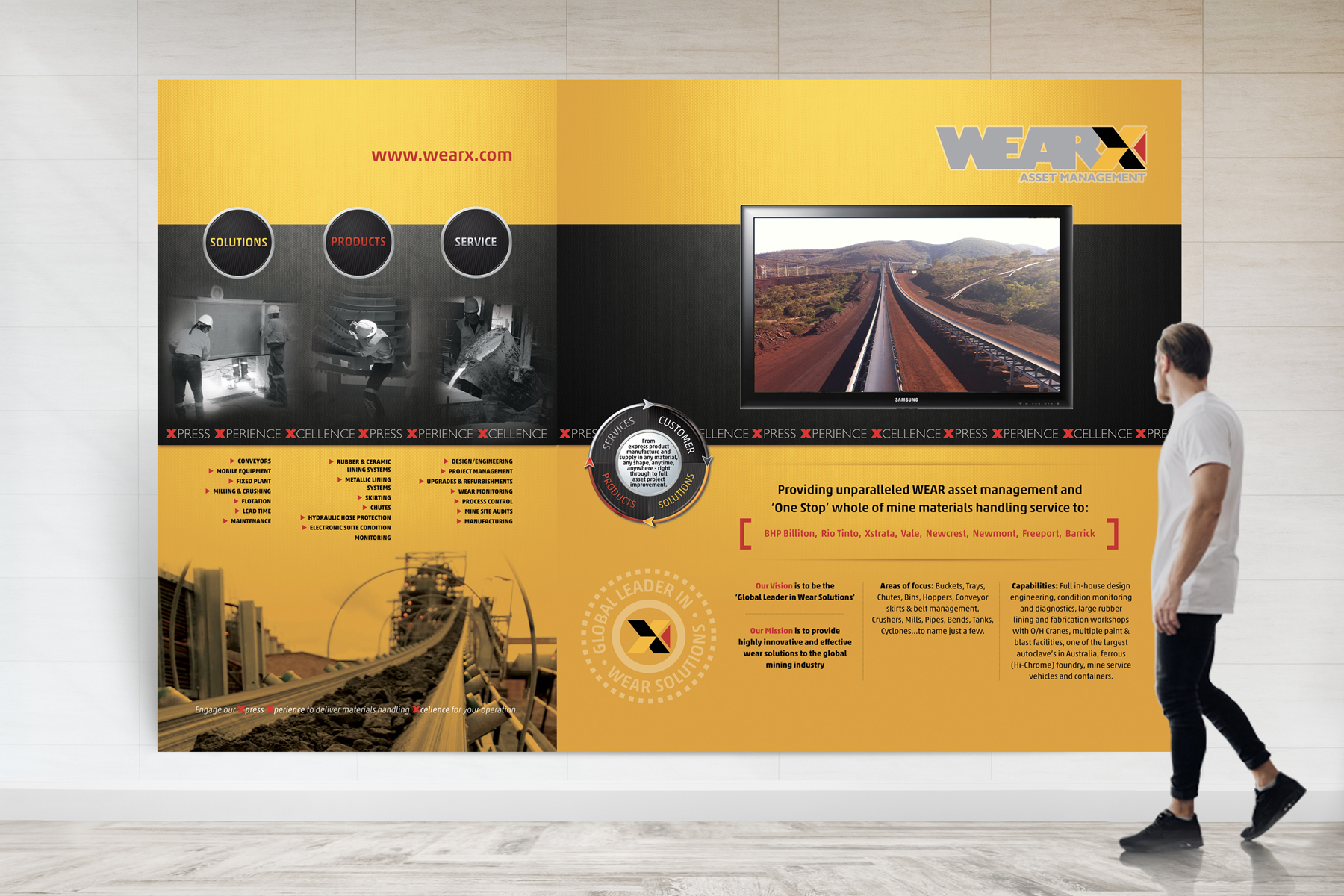 WEARX Information Display Wall with Video Monitor