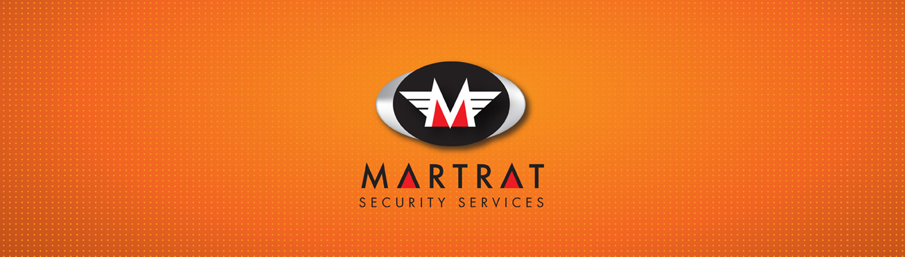Martrat Logo on orange geometrical background wallpaper