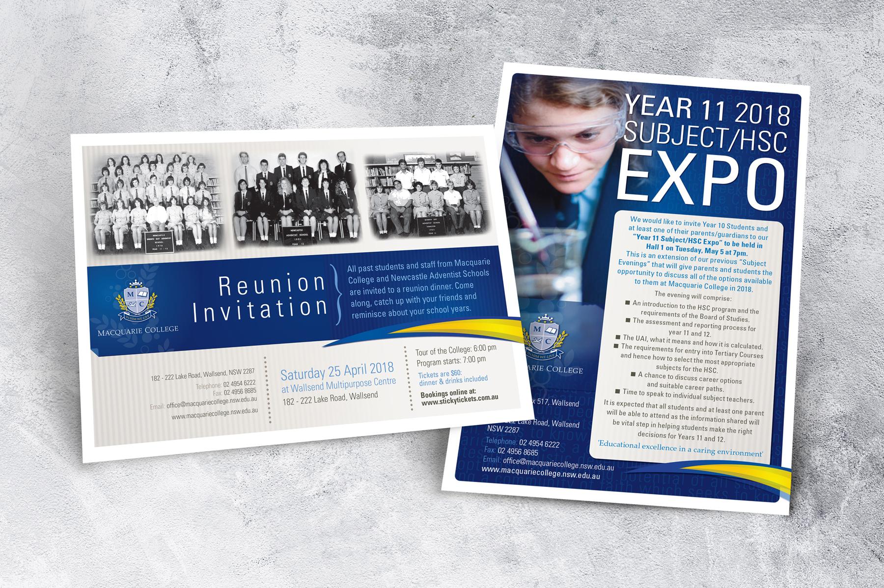 Macquarie College A5 Invitation and Expo Invitation
