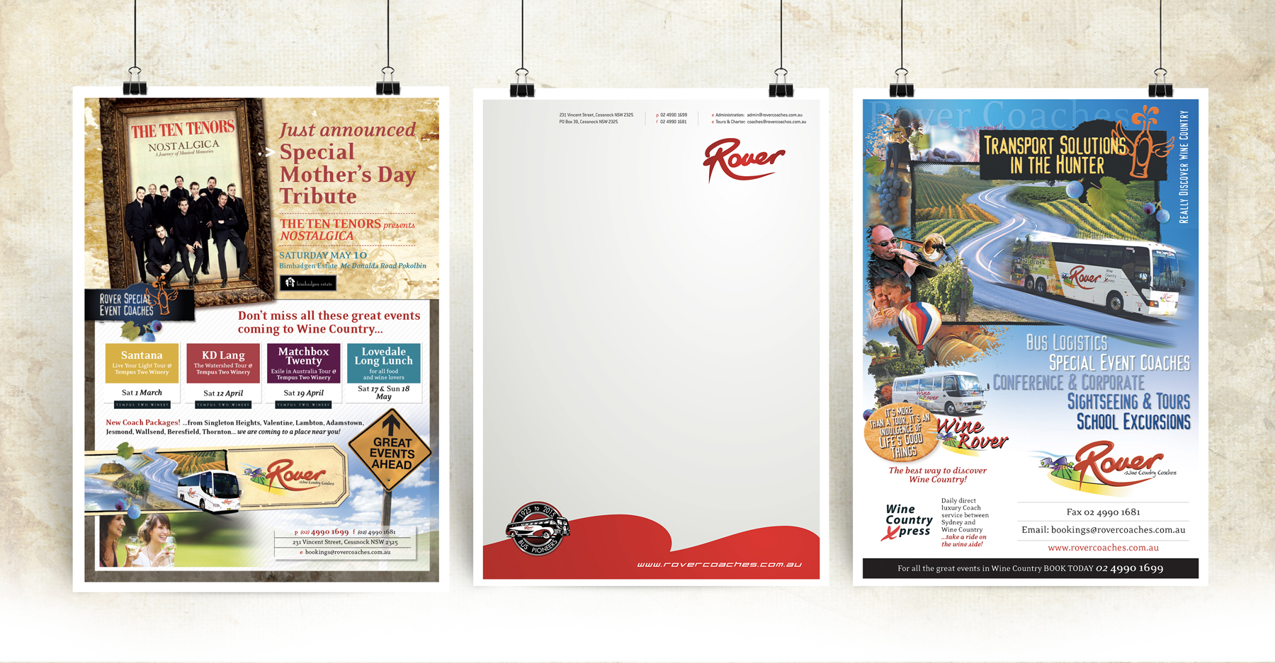 Rover Coaches Poster and Letterhead Samples