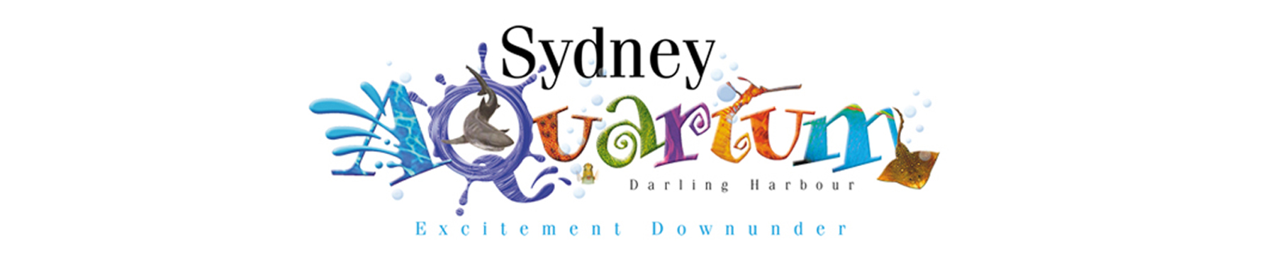 Sydney Aquarium banner on white background