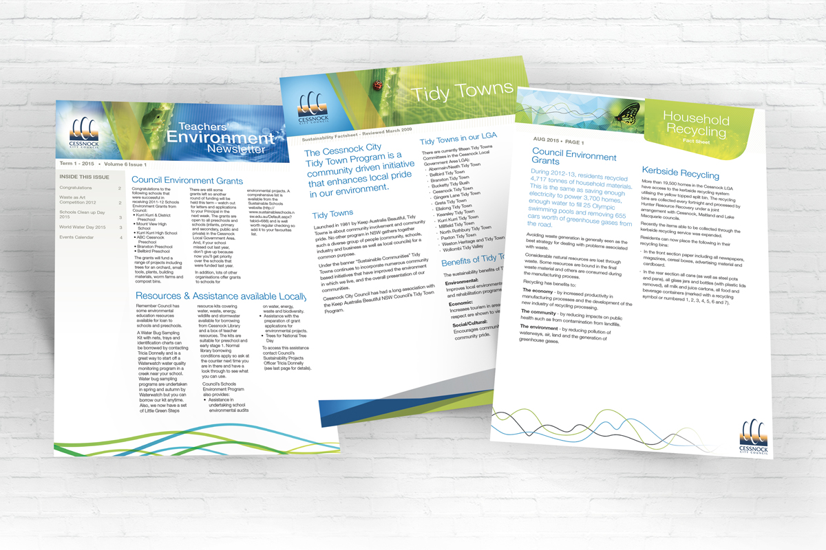 Newsletter cover designs for Cessnock City Council