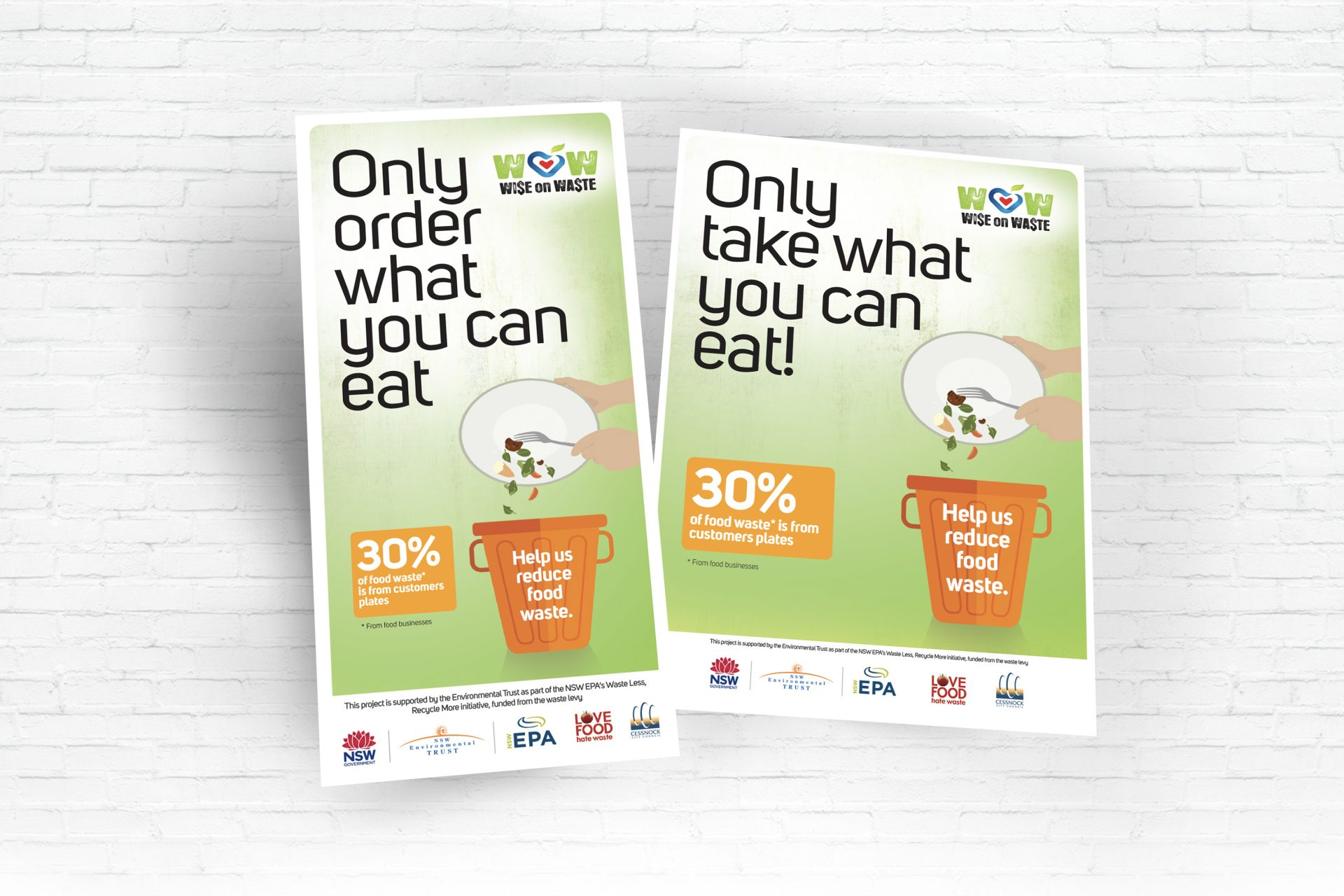 Wise on Waste 1 page DL Flyer and A4 Poster for Cessnock City Council