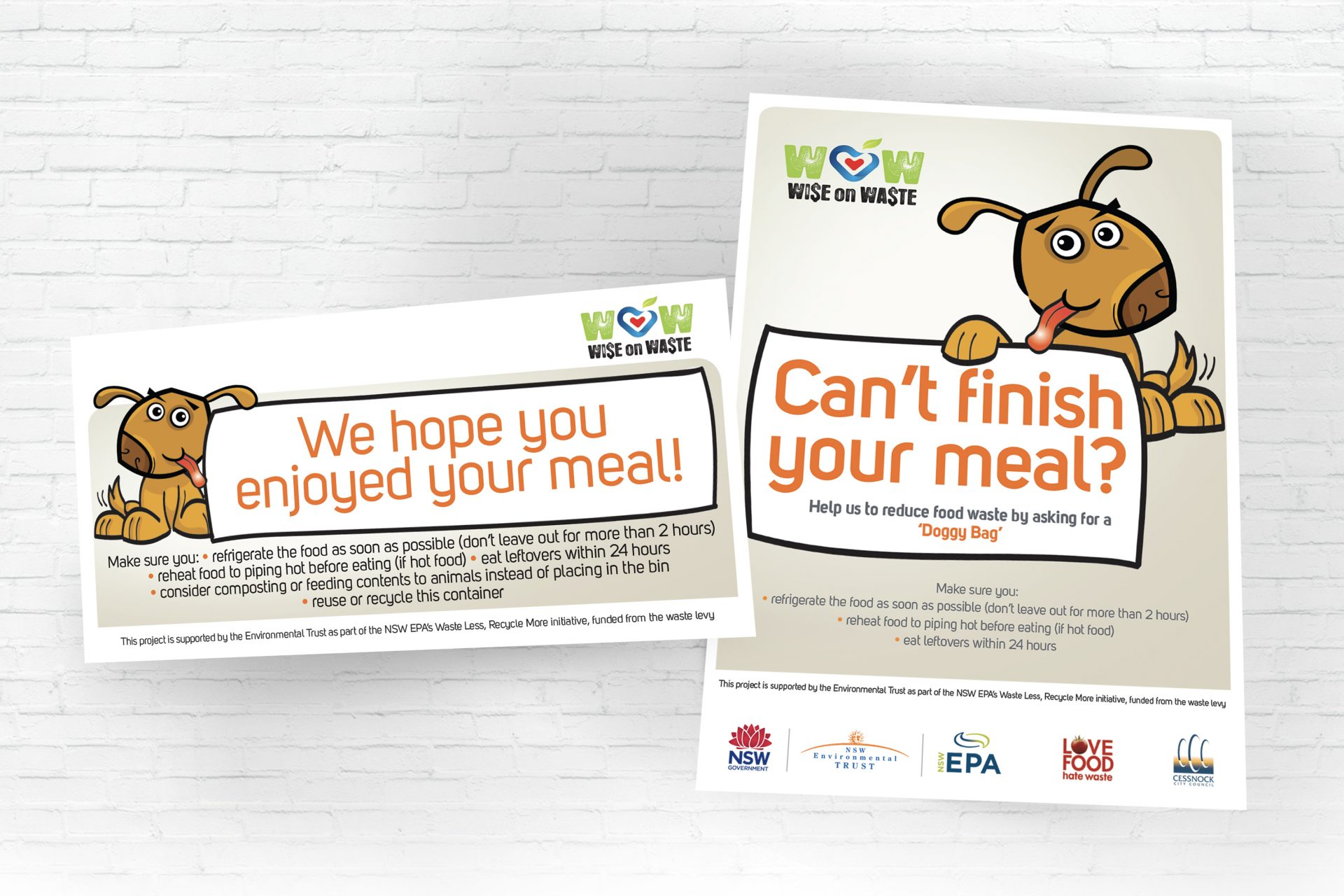 Doggie Bag 1 Page DL and 1 Page A4 Poster for Cessnock City Council