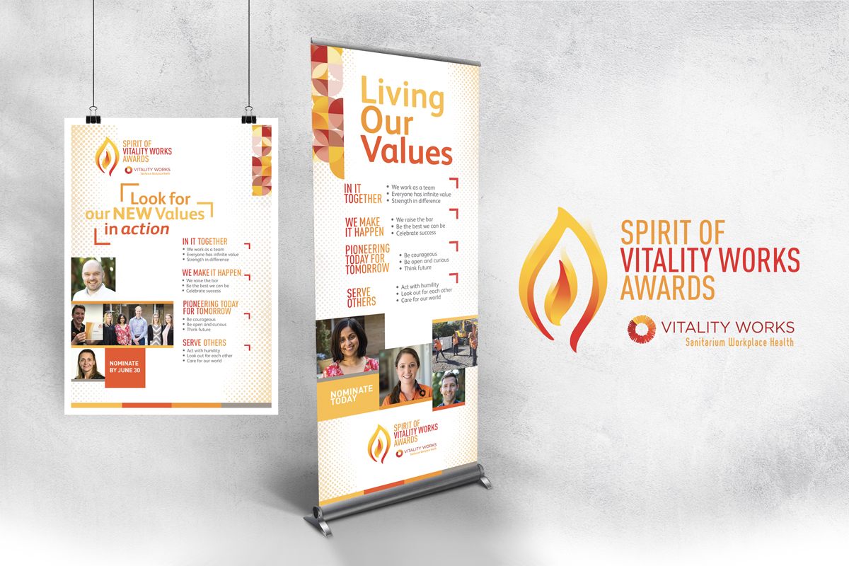 Spirit of Vitality Works Pull-up Banner and A2 Poster