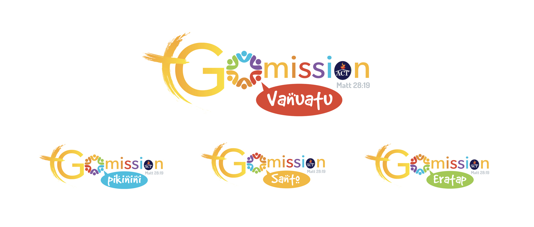 GO Misson Logo variations on white background isolated
