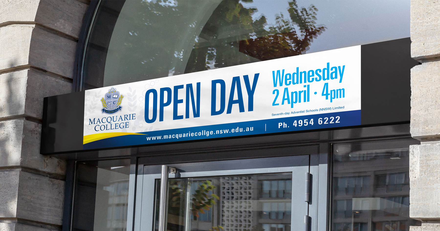 Macquarie College Open Day Signage on Foyer Entry