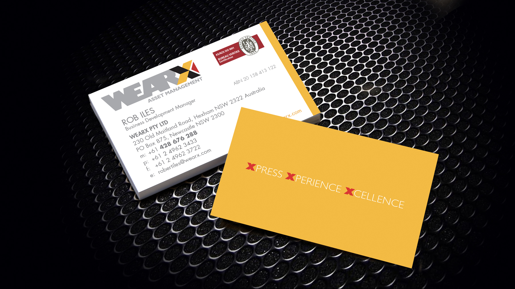WEARX Business Card Sample on Black Background