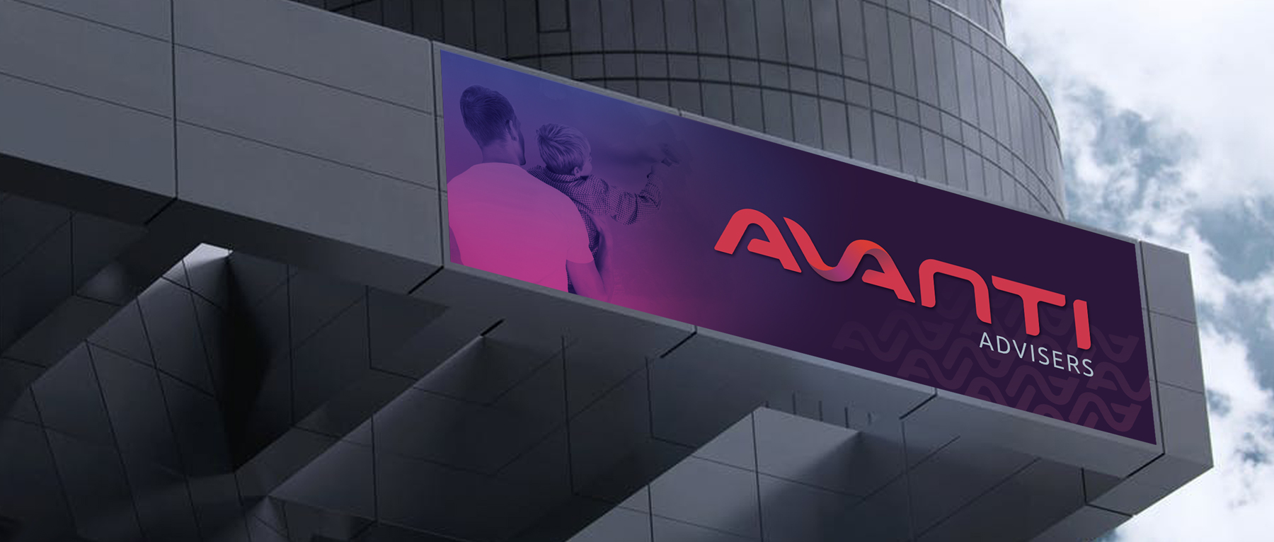 AVANTI Advisers Signage on Grey BuildingSiganage