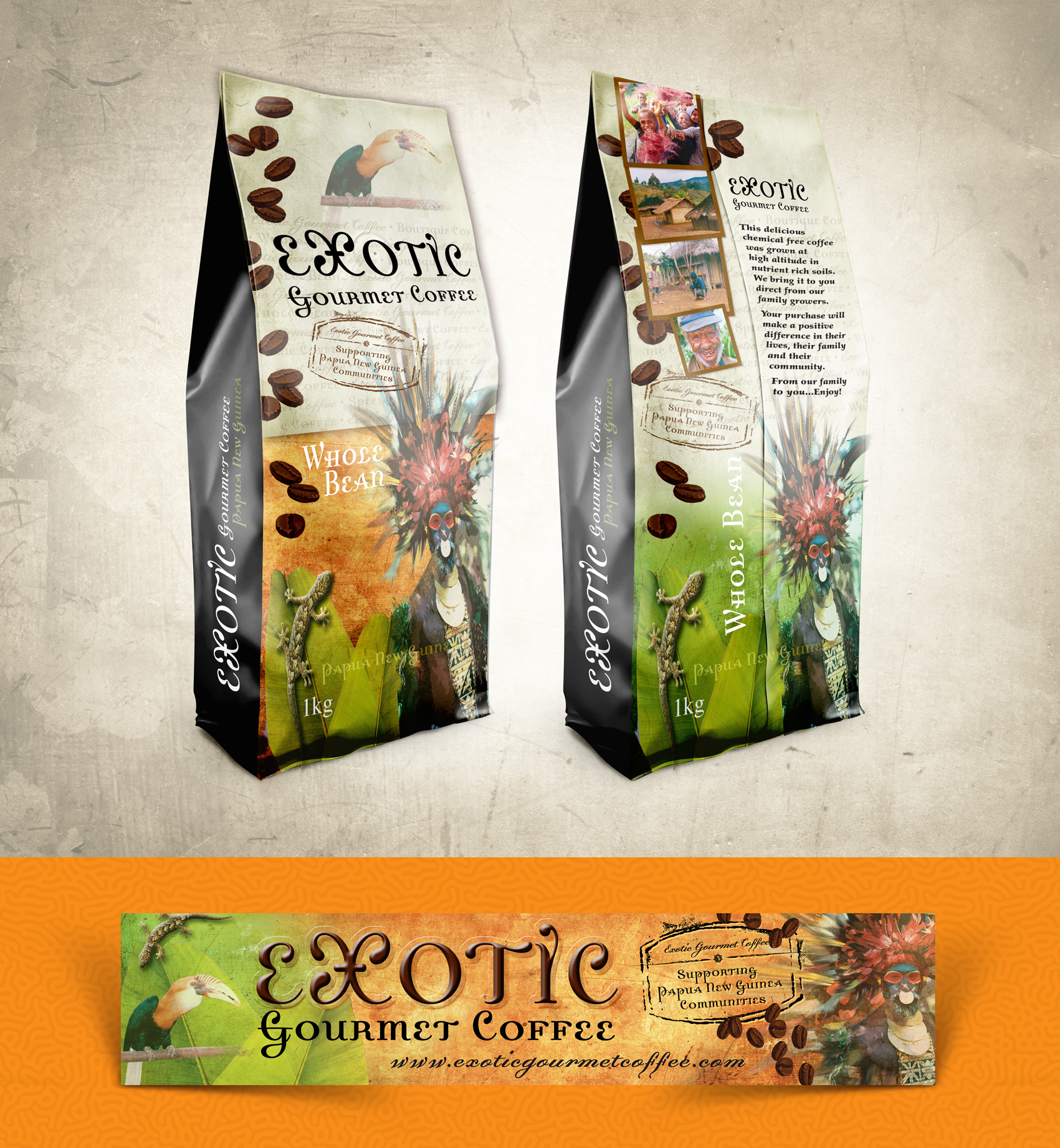 Exotic gourmet coffee packaging display banner