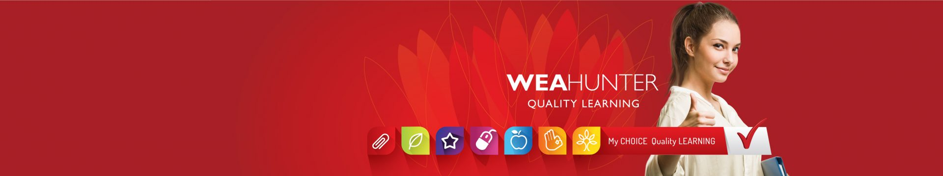 Banner for WEA Hunter branding with red with icons