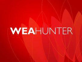 WEA HUNTER Branding Logo on Red