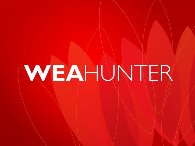 WEA HUNTER Branding Logo on Red