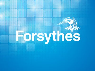 Forsythes Brand on Blue Background
