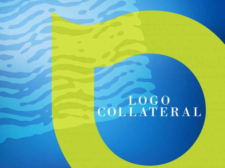 Logo collateral brand style banner in green and blue